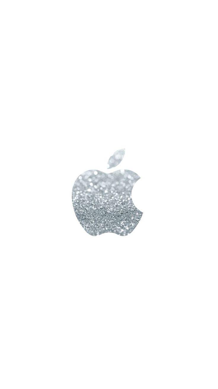 Silver glittery Apple logo