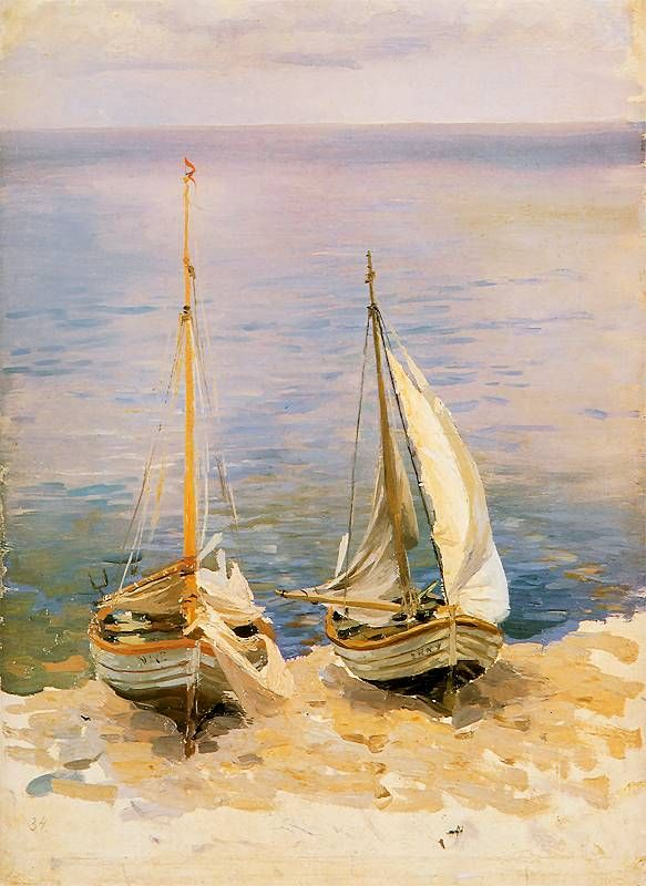 """""""Dwie łodzie żaglowe"""", 1896, Ferdynand Ruszczyc, 1870–1936"""