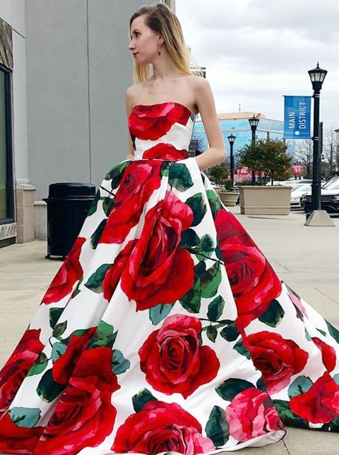 1b175d07bf3 Buy A-Line Sweetheart Sweep Train White Roses Printed Satin Prom Dress with  Pockets