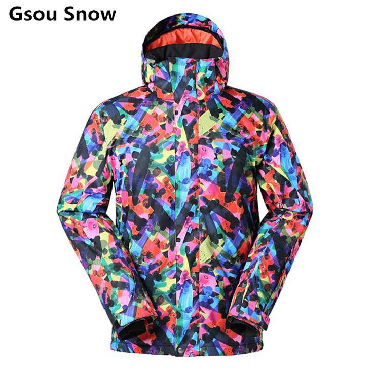 Gsou Snow Jacket Outdoor Sports Snowboard Jacket Men Skiwear Waterproof Warm Windproof Mountain Skiing Clothing  #Affiliate