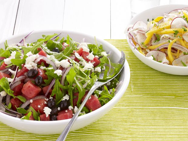 Watermelon-Feta Salad  The salty-sweet combination of feta cheese and olives mixed with juicy watermelon chunks is irresistible.
