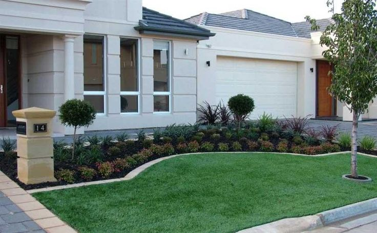 I like the bark the brick border and the cute little - Front garden ideas western australia ...