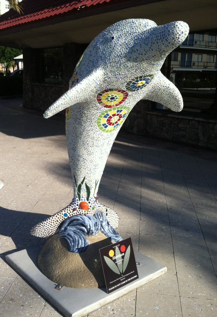 """Harrison"" dolphin is in front of Trickles Jewelry & Crafts, 714 Cleveland St., Clearwater.  Artist:  Dawn Klyczek   Sponsor:  Downtown Development Board"
