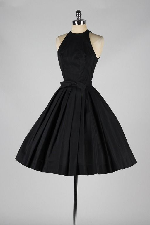 Vintage 1950's Suzy Perette Black Halter Dress