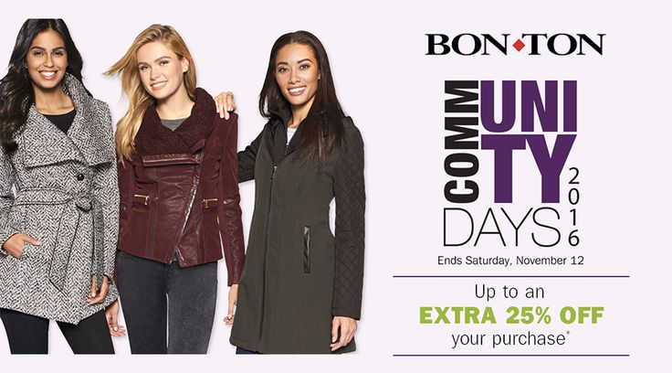 Online & In-Store: Up To 25% #Off Select Regular And Sale Price Item. #BonTon #Coupons  Store : #Bonton Scope: Entire Store   Ends On : 11/13/2016    Get more deals: http://www.geoqpons.com/Bon-Ton-coupon-codes?code=FALL16CMDAY&_target=/referer/17394729  Get our Android mobile App: https://play.google.com/store/apps/details?id=com.mm.views    Get our iOS mobile App: https://itunes.apple.com/us/app/geoqpons-local-coupons-discounts/id397729759?mt=8