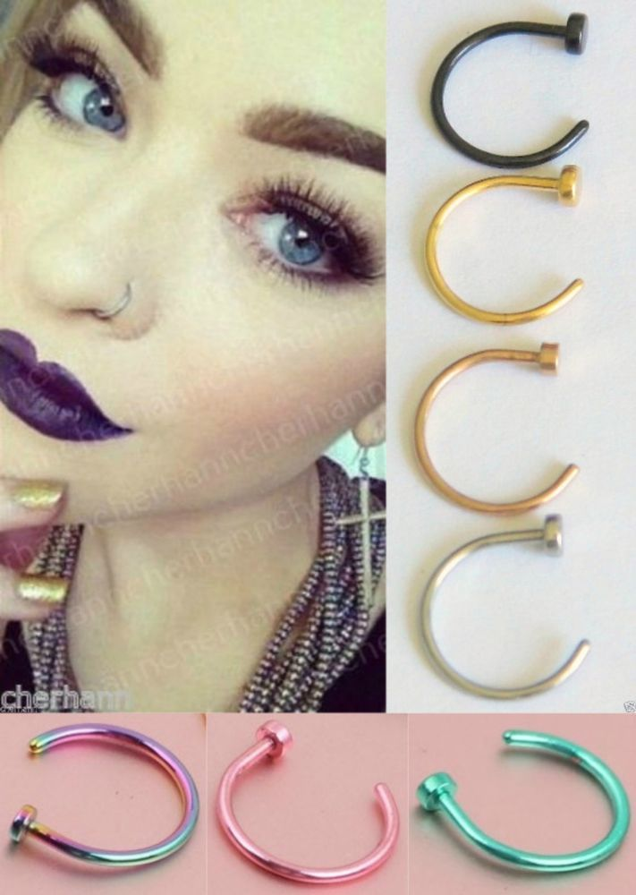Sterling Silver 925 Conch Hoop Earring Orbit Piercing Nose Ring Septum 14k Rose Gold Daith Cartilage Helix Belly Button Ring 12mm Septum Jewelry Orbital Piercing Piercing Chart