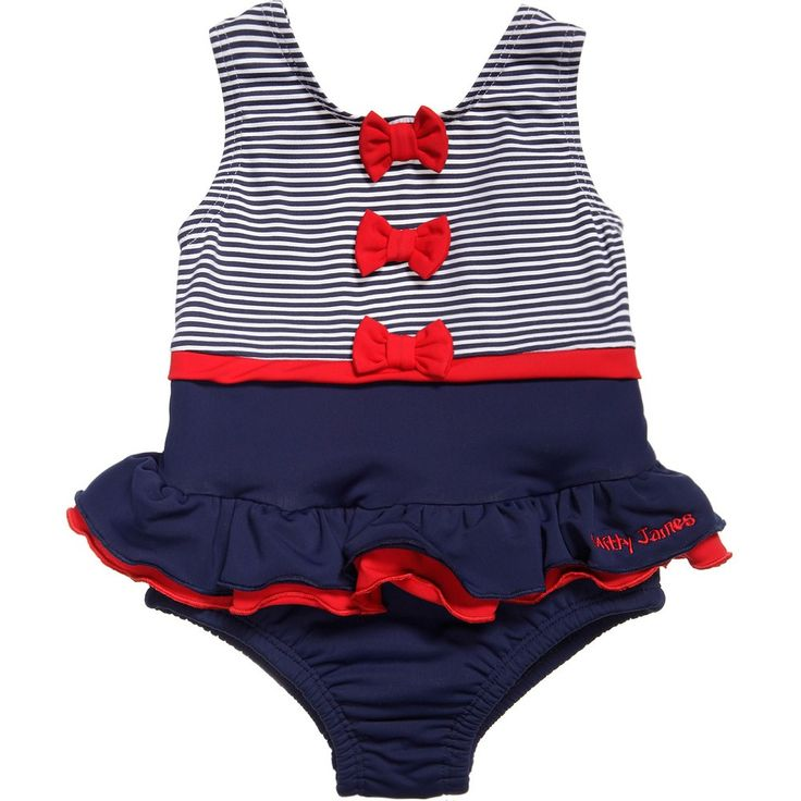 Mitty James Baby Girls Navy Blue Swimming Costume with Nappy at Childrensalon.com