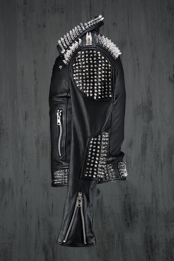 HANDMADE Men Black Punk Silver Long Spiked Studded Leather