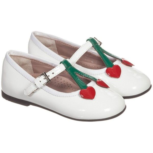 Girls white patent leather and red 'heart' shoes by Gucci. These divine  shoes have a delicate buckle fastening strap, with red heart appliqué  across the ...