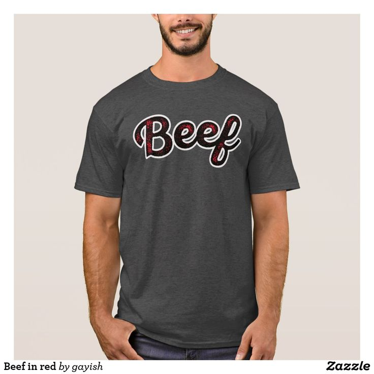 Beef in black/red shirt.  #beef #slang #text #illustration #tshirt #shirts #muscles #humour #gotbeef