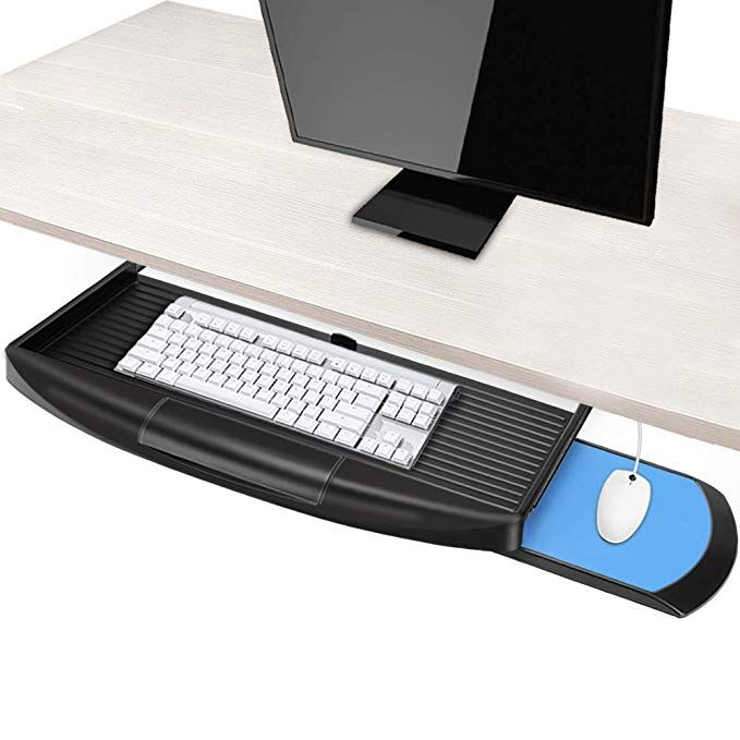 Keyboard Tray Under Desk With Mouse Platform Basecent Undermount Keyboard Sliding Tray With Mouse Holder For Desk Pull Out Keyboard Drawer Desk Keyboard Tray