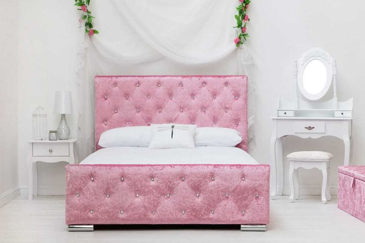 beaumont pink crushed velvet fabric diamante bed frame double/king