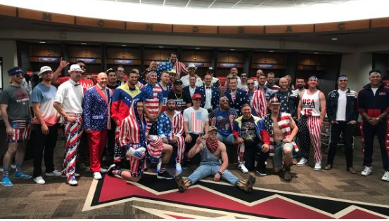 Diamondbacks dress in patriotic garb prior to trip to Washington = It's baseball season and while the sport is synonymous with so many things such as summer, hot dogs and the Fourth of July, it's also quickly becoming associated with themed road trips. The Arizona Diamondbacks are the latest National League team to…..