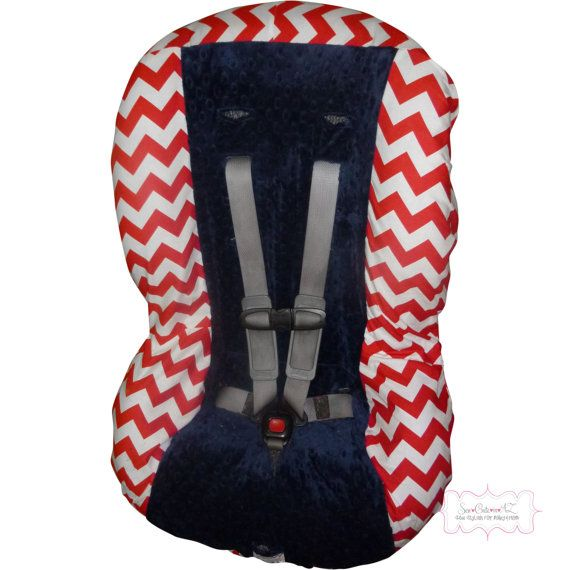 Red Chevron with Navy Toddler Car Seat Cover by sewcuteinaz