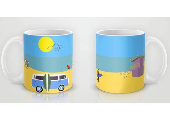 Surfer beach mug-Gifts for boyfriend-Summer mug-Blue van mug-Retro van-Surf mug-Cool Surfer Mug-Coffee lover gift-Gift for him-Colourful mug by TheRed…