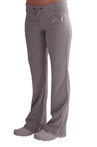 EyeCatch - Casual Graphic Ladies Joggers Jogging Tracksuit Bottoms Grey with…