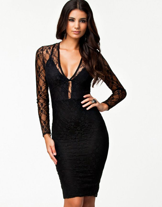 Black Contrast Lace Backless Dress