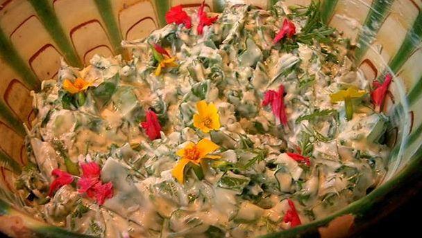 Lækker Raita - yoghurtsalat med urter og masser af chili. Spis den til indisk simremad eller naanbrød. Yoghurten gør Raitaen frisk, let og lækker.