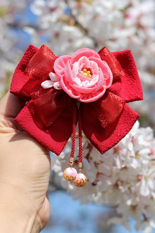 八重桜ハイカラさんリボン ✿卒業式✿成人式✿着物✿浴衣✿袴✿和✿七五三✿赤ピンク桜