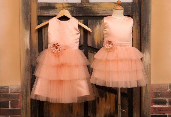 Orange Pink Tulle Flower Girl Dress for Wedding Baby Girl Dress Princess Dress with Flower Sash Cupcake Dress