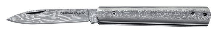MAGNUM 01MB215DAM Damascus Slim Knives, Silver. 37-Layer Damascus blade. Damascus handle. Non-locking blade.