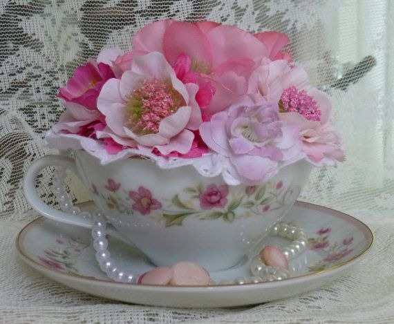 Teacup Flower Arrangement Lovely Pinks And Whites
