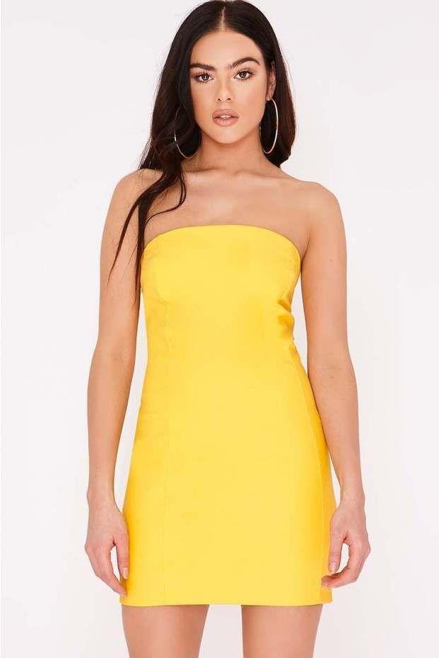 577deb778e65 Pia Mia Yellow Matte Vinyl Strapless Mini Dress | In The Style ...