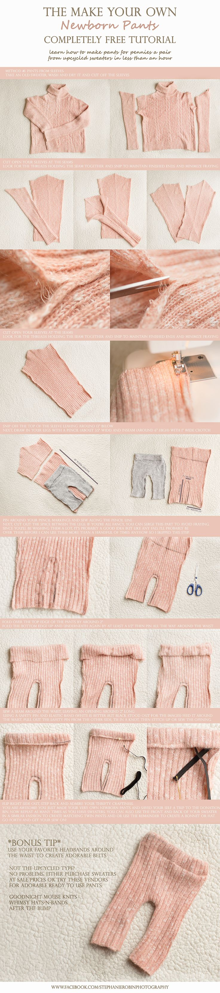 Make your own Newborn Photo Prop Pants