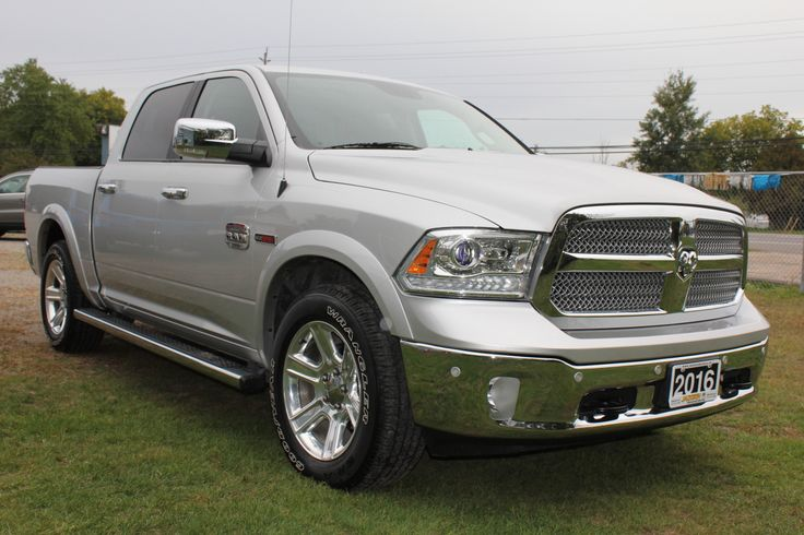 """2016 Ram Longhorn 1500 4x4 Crew Cab ECO DIESEL Active-Level 4-Corner Air Ride Suspension, Premium Cattle Tan Leather & Burl Walnut Interior, Heated Seats Front and Rear, Cooled Front Seats, Heated Steering Wheel, Navigation, Bluetooth, RearView Camera (Park-Sense® Front and Rear Park Assist System), Power Sunroof, Power Adjustable Pedals, Power Rear Sliding Window, Trailer Tow, Step Bars, 20"""" Alloy Wheels, Factory Spray-in Bedliner and Ram Step Bars, Balance of Factory Warranty, One-Owner…"""