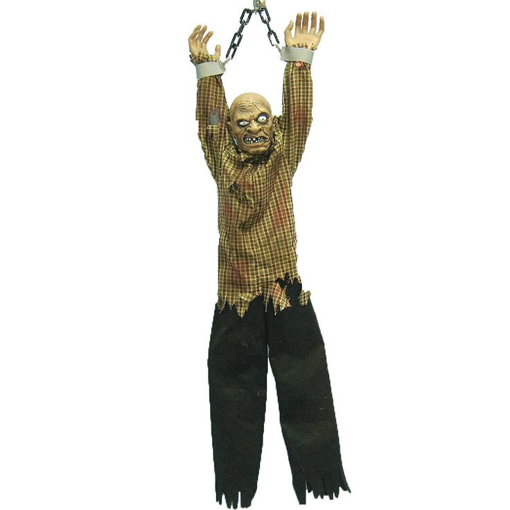 this animated hanging zombie is no different at almost 5 ft long this bone chilling halloween decoration - Animated Halloween Decorations