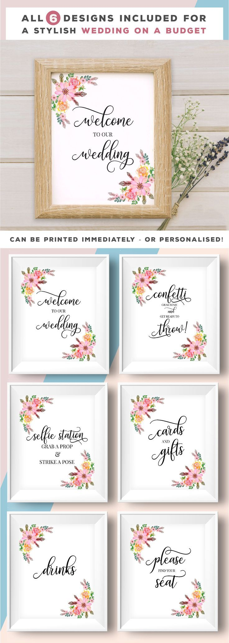Wedding decor, wedding poster sets. Each with a gorgeous floral style.