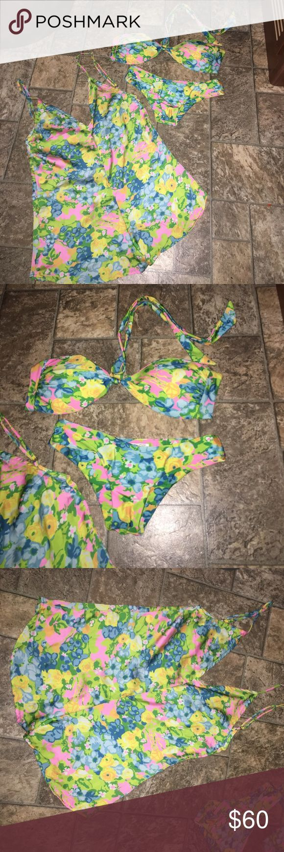Beach Riot bikini and romper Xs/S Brand new beach riot bikini size XS and matching satin romper size small comes from a smoke and pet free home Beach Riot Swim Bikinis