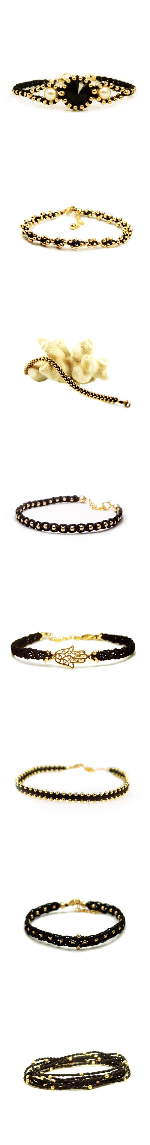 Black and 14K Gold Filled Macrame Bracelets all Designed and Hand knotted by The Macrame Project; a Boho Chic Style Ethical Fashion Brand producing designer Micro Macrame Jewelry a long side village women.  #Fashion  #FashionBloggers  #EthicalFashion #FairTrade  #handmade #Jewellery #Jewelry #BohoChic #Bohemian #HippieChic