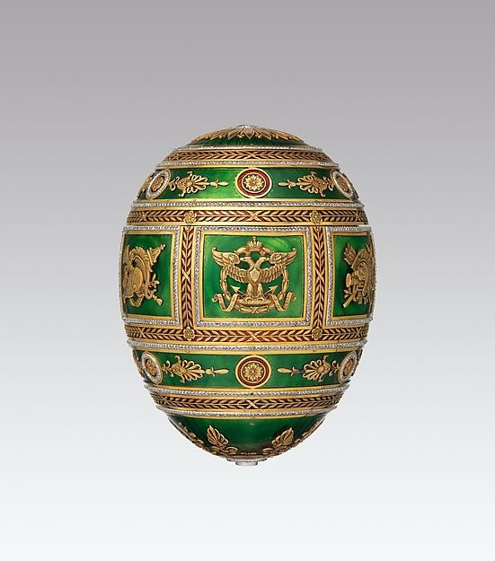 "Maker: House of Carl Fabergé. Imperial Napoleonic Egg, 1912. The Metropolitan Museum of Art, New York (L.2011.66.57a–c) | This work is on view in ""Fabergé from the Matilda Geddings Gray Foundation Collection"" through November 27, 2016."