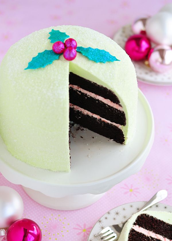 Christmas cake.  Use regular chocolate cake recipe, this frosting.  Top with crushed candy canes.