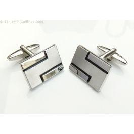 Double Z Cufflinks - High quality rhodium plated rectangle cufflinks featuring a black Z design.