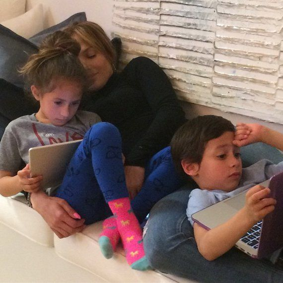 """Pin for Later: The Cutest Pictures of Jennifer Lopez and Her Adorable Kids  """"Around here we call this . . . Sunday Funday #coconuts #LOVE"""""""
