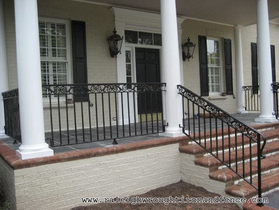 Front porch with wrought iron railings google search - Metal railings for stairs exterior ...