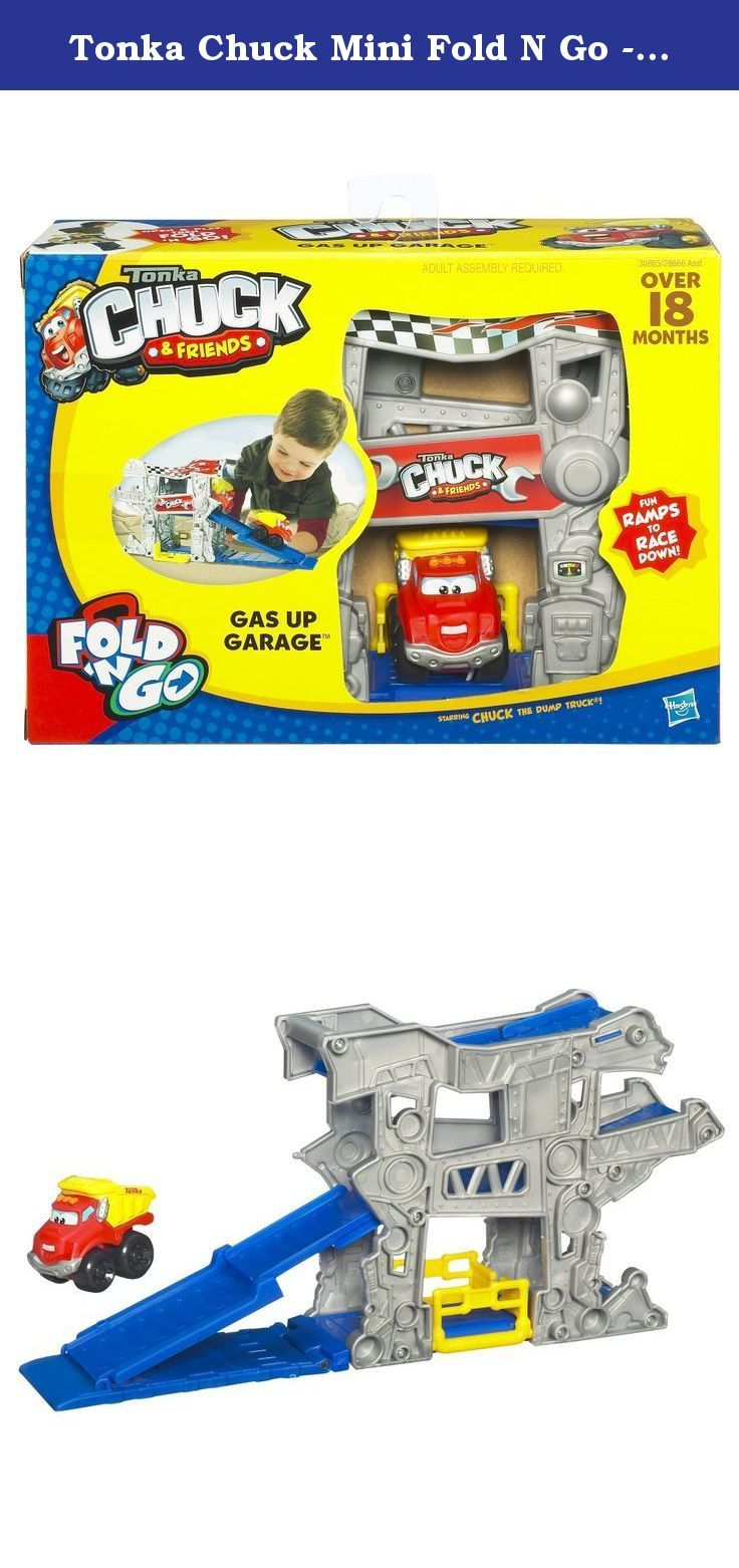 Tonka Chuck Mini Fold N Go - Gas Up Garage. Hey. It's me, Rowdy The Garbage Truck. I stop by the garage when I need to get fueled up and tuned up for my next awesome adventure in the junkyard. Rev up your engine for tons of highoctane fun. Set your Rowdy The Garbage Truck vehicle at the top of this gas station playset to watch him tumble down the dropdown ramp and come speeding down the side. Then put him back at the top to do it all over again. When playtime's over, park your Rowdy The...