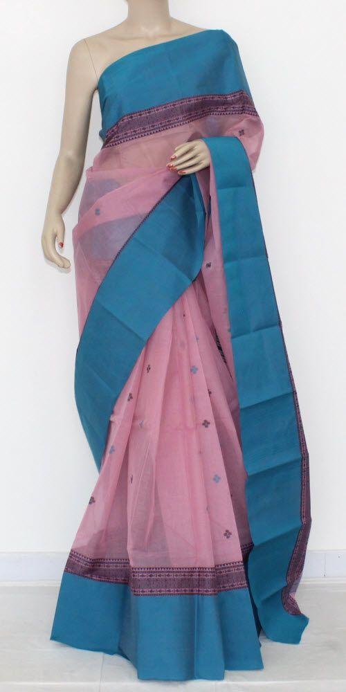 Pink Pherozi Handwoven Bengali Tant Cotton Saree (Without Blouse) 14219