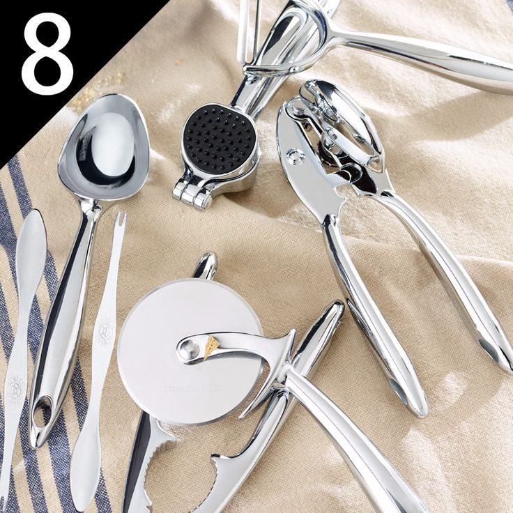 8 Piece Set Zinc Alloy Kitchen Tools & Gadgets Ice Cream Scoop Garlic Press Can Opener Lobster Cracker and 2 Seafood Forks  Set