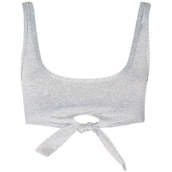Knot Front Bikini Crop Top by Evil Twin ($42) ❤ liked on Polyvore featuring swimwear, bikinis, bikini tops, grey, tankini tops, gray bikini top, evil twin, bikini swimwear and swim suit tops