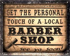 BARBER SHOP sign LOCAL hair salon VINTAGE wall decor display RETRO PLAQUE art