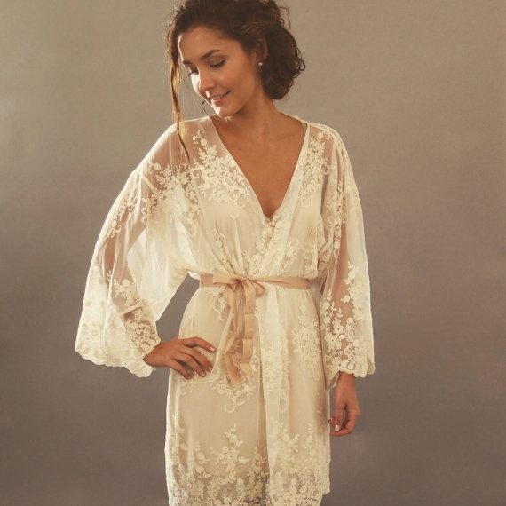 HELENA Kimono - Made to Order Ivory Guipiere lace lingerie Getting Ready Kimono - Trousseau, gift for her, lingerie dressing gown, honeymoon