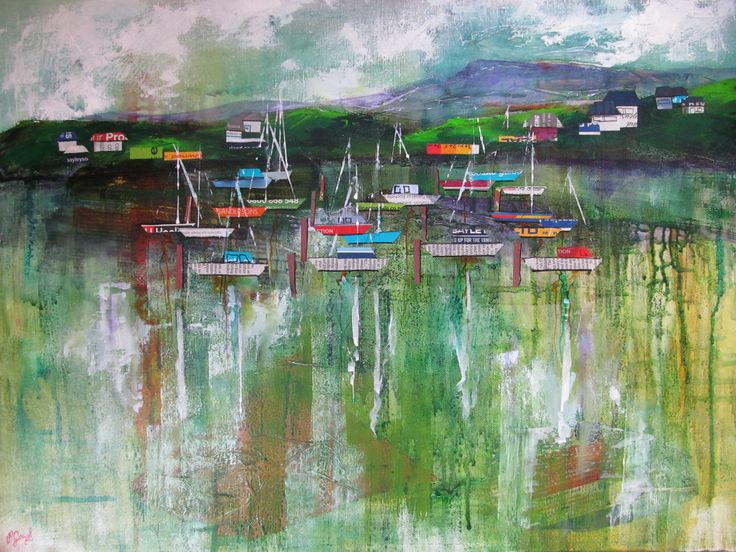 Pauline Gough: Mixed Media Art.  www.artfind/paulinegough  www.mangawhaiartists.co.nz  © Pauline Gough. This image may not be reproduced or copied in whole or part without prior consent of the owner. All rights reserved.  Yachts Gathering - Collage & Mixed Media (SOLD)