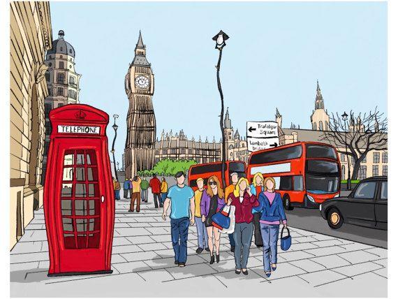 cuadro pintado a mano de Londres con el Big Ben en acrilico u oleo con tecnica mixta sobre lienzo bastidor de 3cm de grosor