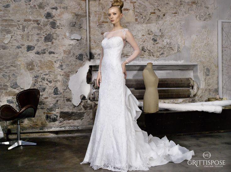 Una scintillante cascata di rouches rende unico Luces, nuovo abito #Grittispose  #abitidasposa # #vestitidasposa #matrimonio #wedding #weddingdress #sposa #bride #bridal #madeinitaly #couture