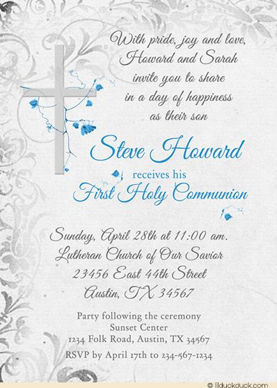 holy communion invitation elegant cross catholic flowers