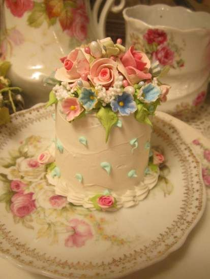 Gorgeous pastel faux cake by Rhonda's Rose cottage Designs