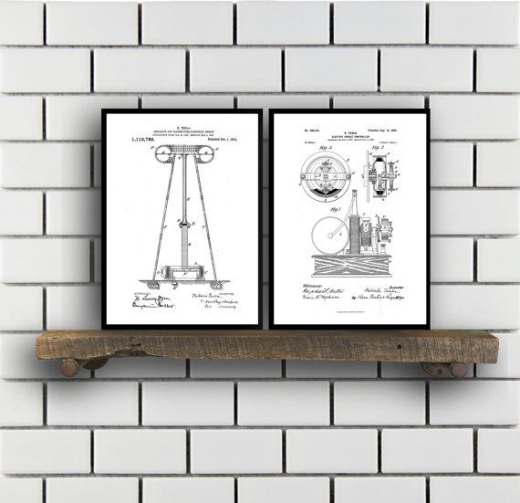 Tesla Patent Set of TWO, Tesla Electrical Transmitter Patent, Tesla Poster, Tesla Transmitter Print, Tesla Patent, Tesla Inventions, SP121 by STANLEYprintHOUSE  6.00 USD  These posters are printed using high quality archival inks, and will be of museum quality. Any of these posters will make a great affordable gift, or tie any room together.  Please choose between different sizes and colors.  These posters are shipped in mailing tubes via USPS First C ..  https://www.etsy.com/ca/li..